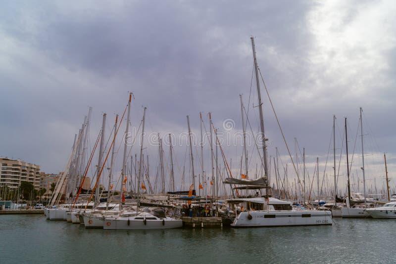 Segelboote bei Palma de Mallorca Harbour lizenzfreies stockfoto