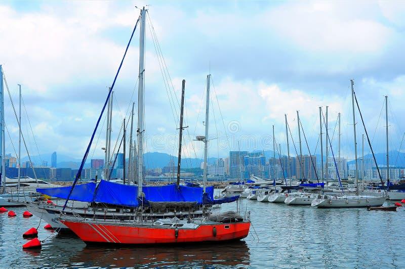 Segelboote in Hong Kong stockbilder