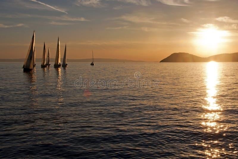 Segelboote im Sonnenuntergang lizenzfreie stockfotos