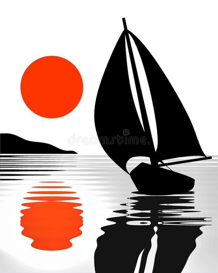 Segelbootreflexion/silhouet te Illustration stock abbildung