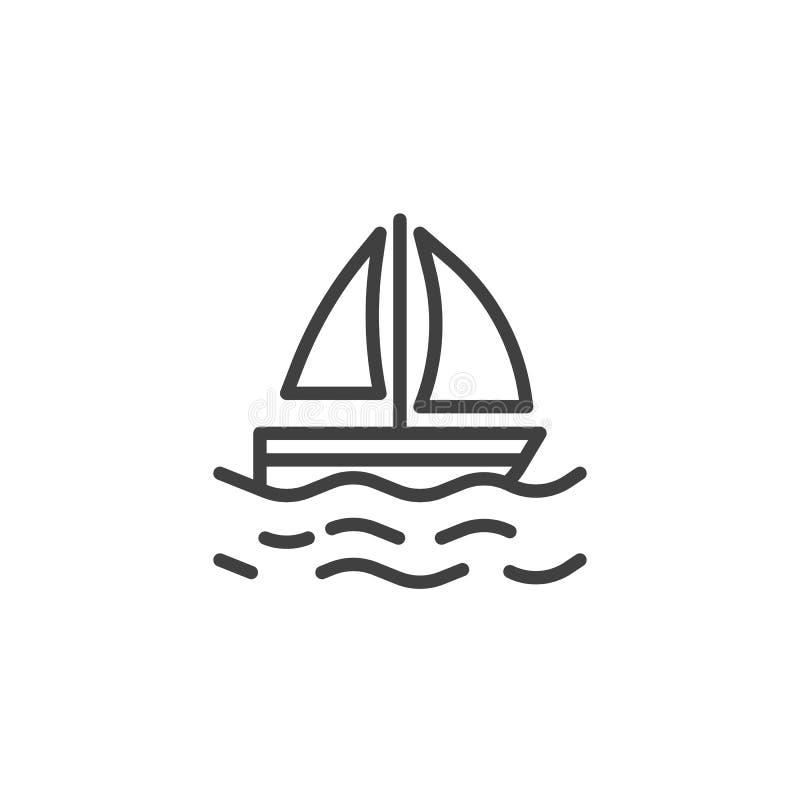 Segeljacht auf Wellen zeichnen Ikone lizenzfreie abbildung