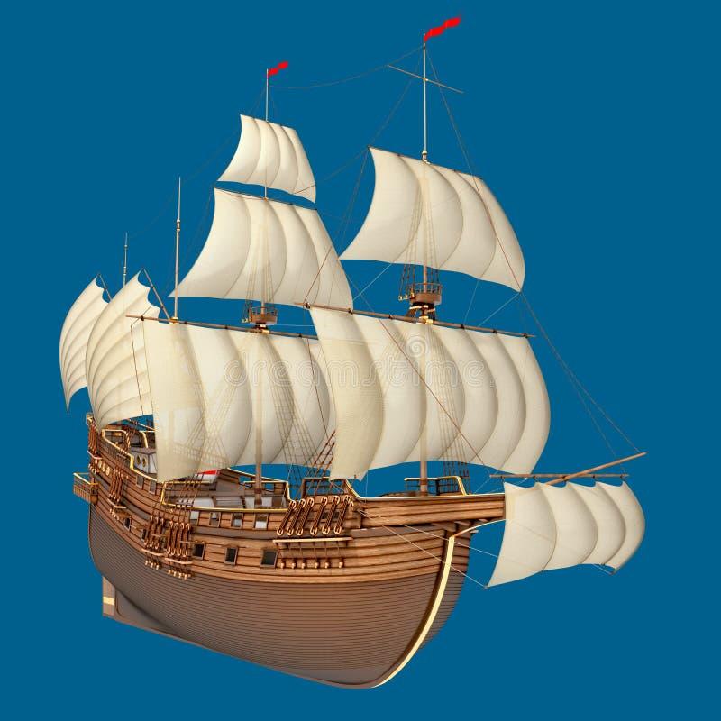 Segeln des hölzernen alten Schiffs stockbild