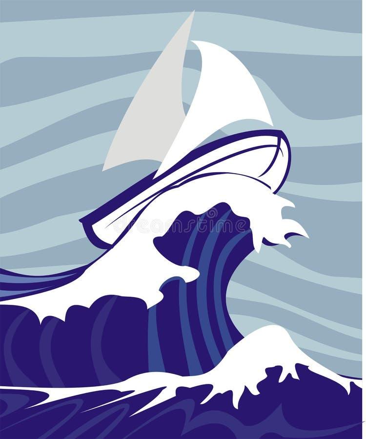 Segeln in ein stürmisches Meer stock abbildung