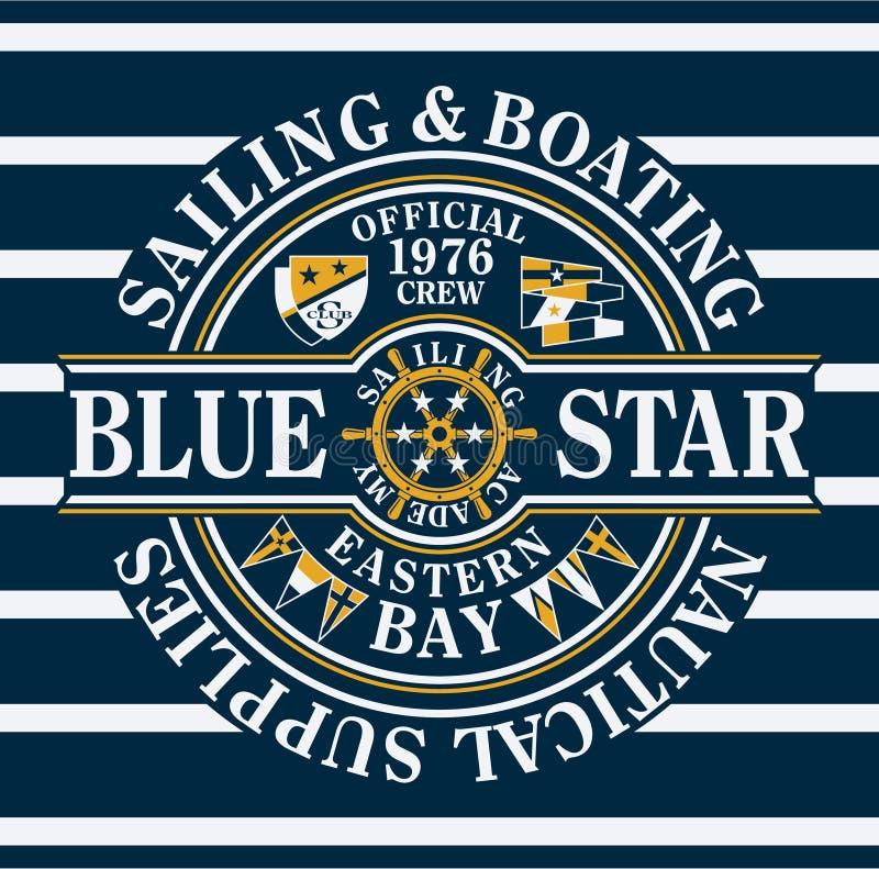 Segeln u. Bootfahrt des blauen Sternes lizenzfreie abbildung