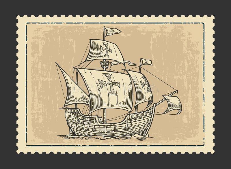 Segelschiff, das auf die Meereswellen schwimmt stock abbildung