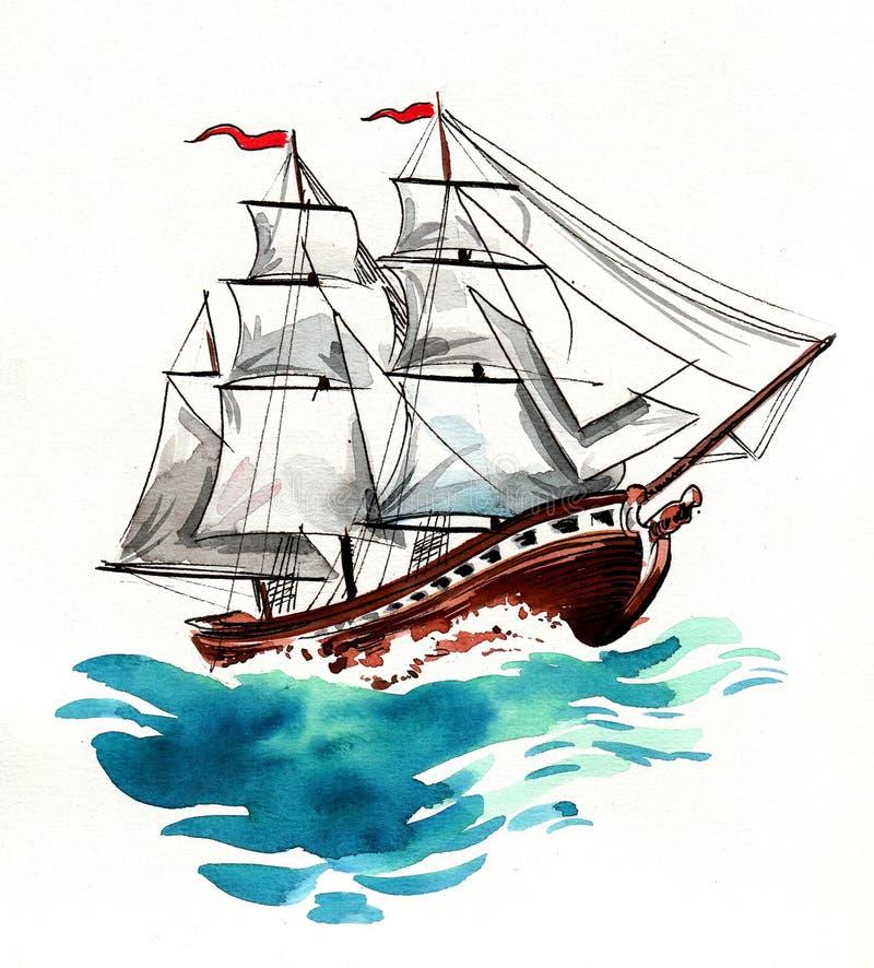 Segelschiff und Wellen stock abbildung