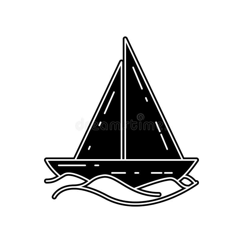 Segelschiffikone E Glyph, flache Ikone f?r Websiteentwurf und Entwicklung, lizenzfreie abbildung