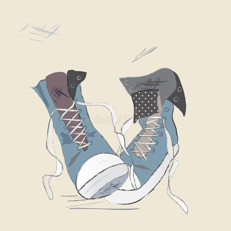 Segeltuch-Schuhe Illustration.Design von Turnschuhe stock abbildung