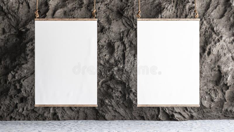 Segeltuch zwei hing in der Galerie mit Felsenwandinnenraum stock abbildung