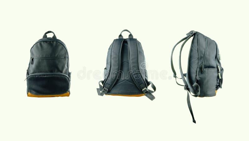 Segeltuchrucksack-Zusatztasche lokalisiert stockfoto