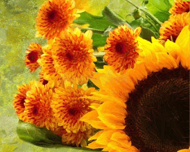 Segeltuchsonnenblumen-Reihe stockfoto