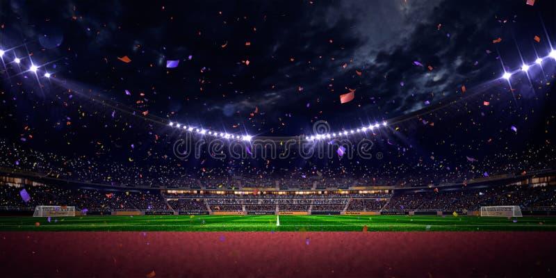Seger för mästerskap för fält för fotboll för nattstadionarena Blå toning royaltyfria bilder