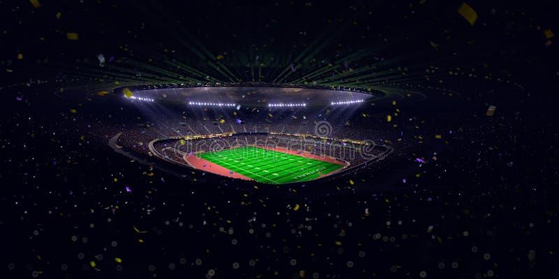 Seger för mästerskap för fält för fotboll för nattstadionarena Blå toning arkivbilder