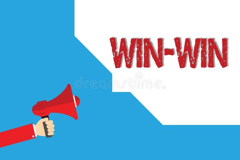 Seger för seger för ordhandstiltext Affärsidéen för strategi för båda delar erhåller fördelförhandlingöverenskommelse royaltyfri illustrationer