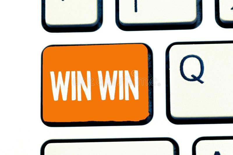 Seger för seger för ordhandstiltext Affärsidéen för strategi för båda delar erhåller fördelförhandlingöverenskommelse vektor illustrationer