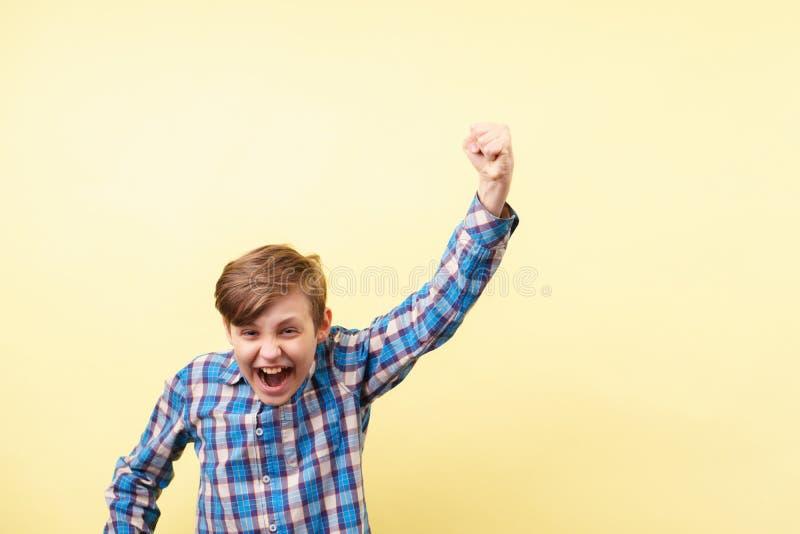 Seger framgång upphetsad pojke som gör segergest arkivfoton