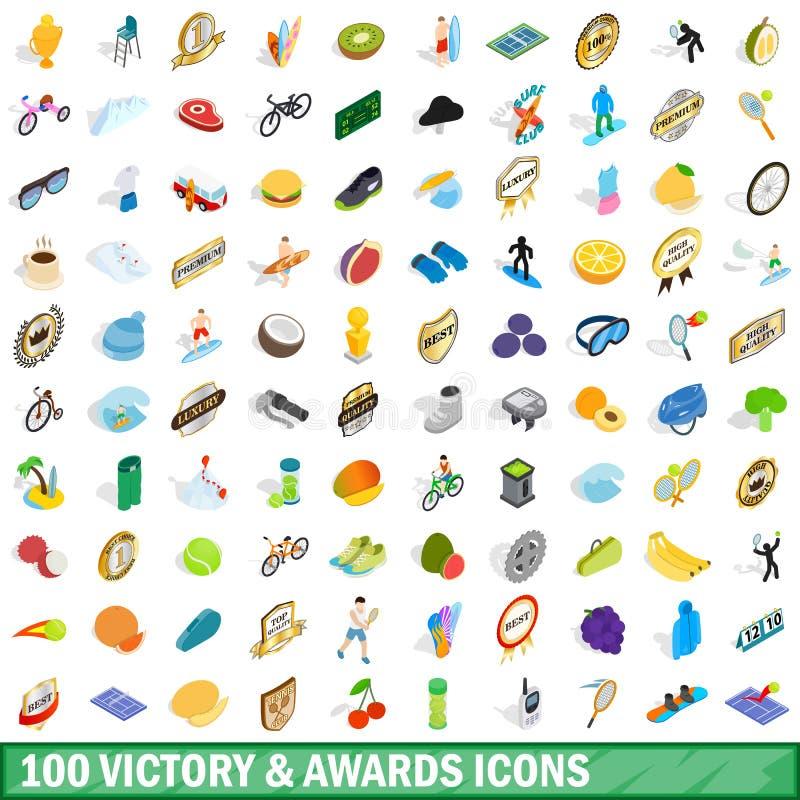 100 seger och utmärkelsesymboler ställde in, isometrisk stil vektor illustrationer