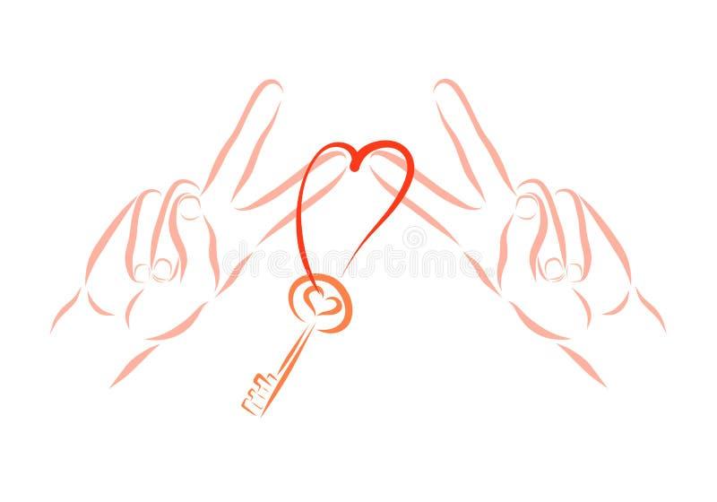 Segergesten, två händer rymmer tangenten med en hjärta formad ögla vektor illustrationer