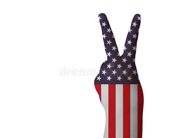 Segerhandtecknet på USA flaggan isolerade den withclipping banan arkivbilder