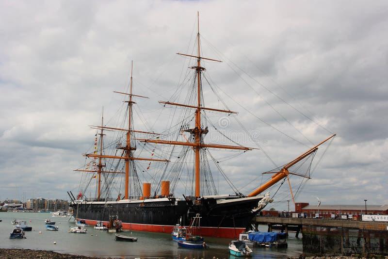 Segerrik HMS ett historiskt kungligt navywar skepp anslöt i Portsmouth arkivfoton