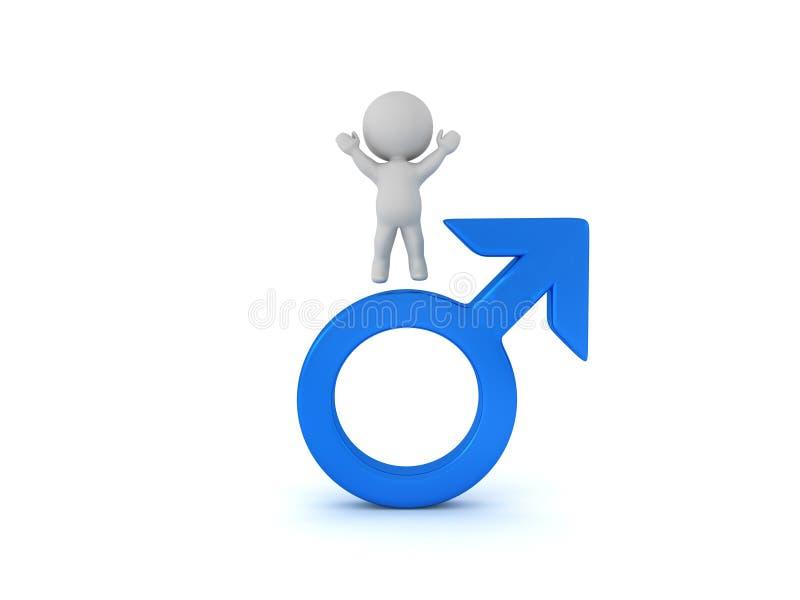segerrikt och manligt genussymbol för tecken 3D royaltyfri illustrationer