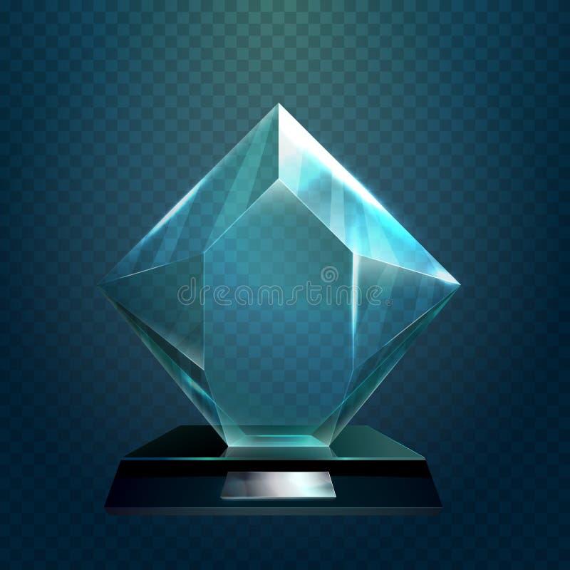 Segertrofé eller glasföremålkopp, vinnarepris vektor illustrationer
