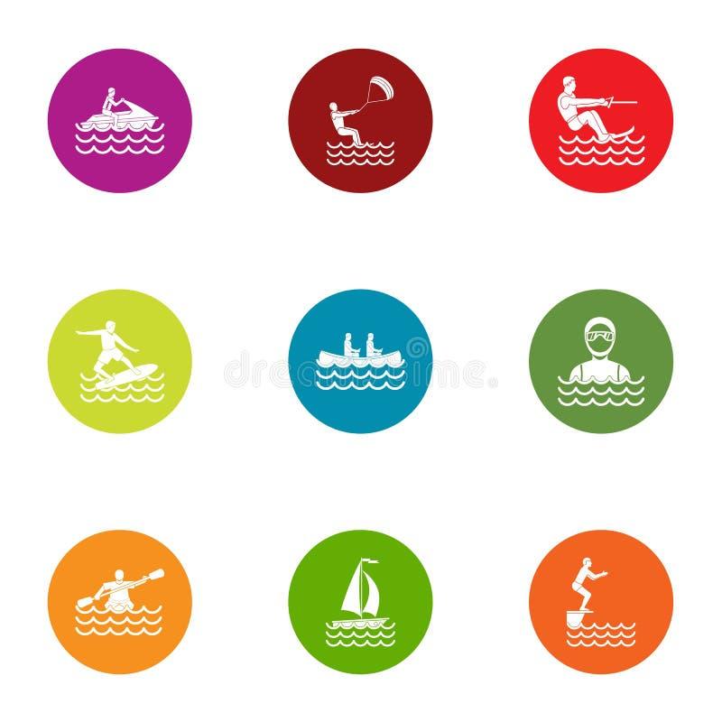 Segla chartersymbolsuppsättningen, lägenhetstil royaltyfri illustrationer
