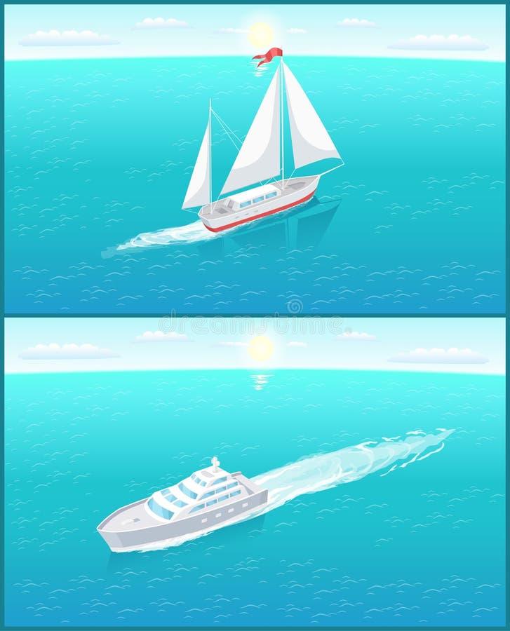Segla den vita kanfasseglingen för fartyget och passagerareeyeliner royaltyfri illustrationer