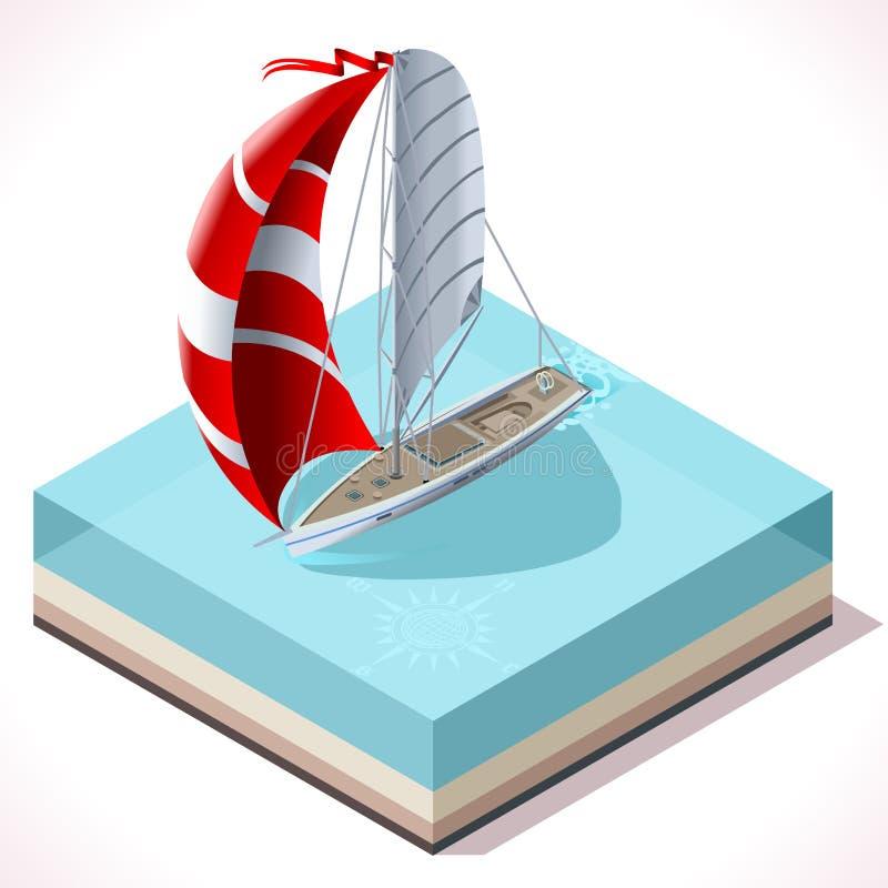 Segla det isometriska medlet för fartyguppsättning 02 royaltyfri illustrationer