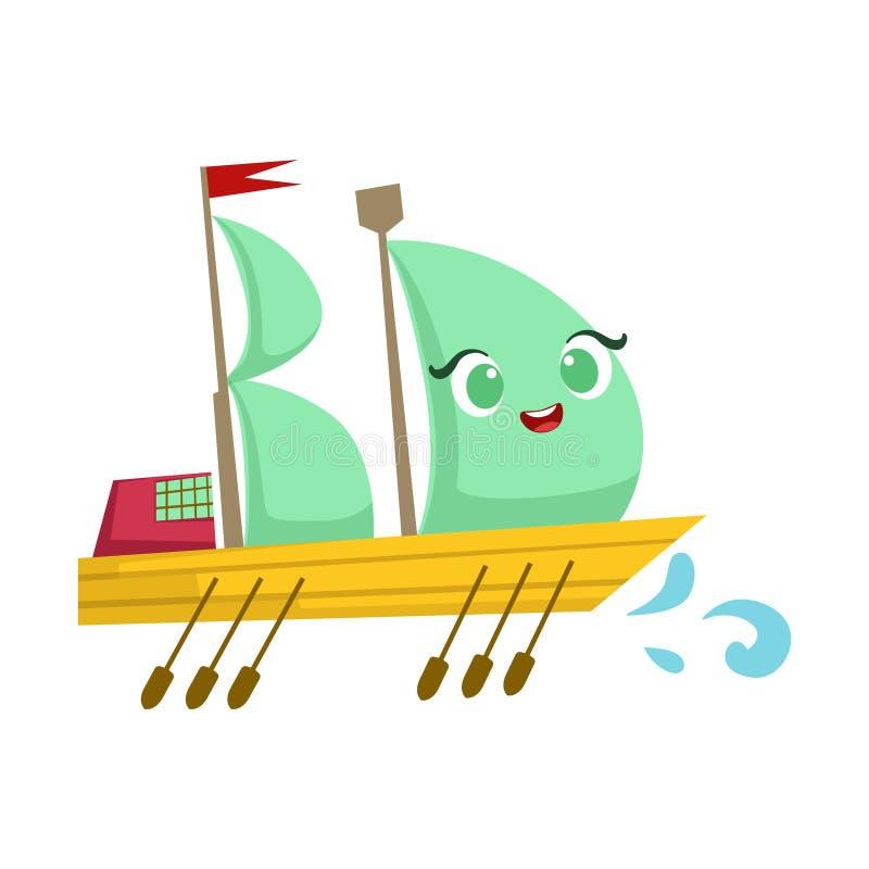 Segla det stora fartyget med skovlar, gullig flickaktigt Toy Wooden Ship With Face tecknad filmillustration stock illustrationer