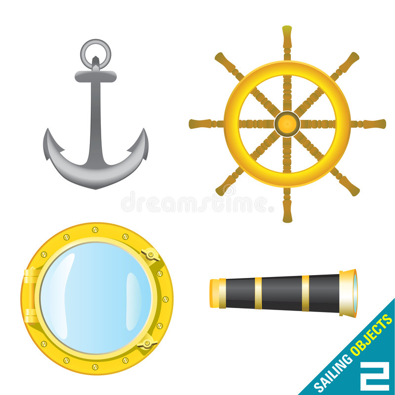 segla för 2 objekt royaltyfri illustrationer