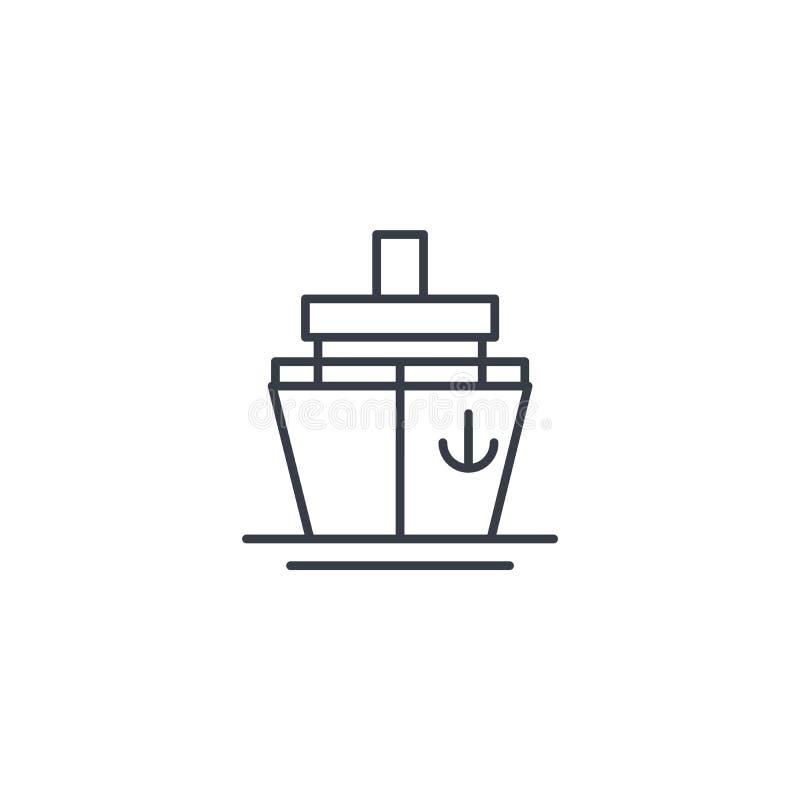 Segla fartyget, den tunna linjen symbol för kryssningskeppet Linjärt vektorsymbol royaltyfri illustrationer