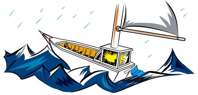 Segla fartyget i illustraitonen för den regniga dagen vektor illustrationer