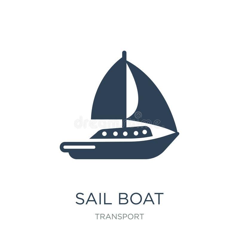 segla fartygsymbolen i moderiktig designstil segla fartygsymbolen som isoleras på vit bakgrund segla den enkla och moderna lägenh royaltyfri illustrationer