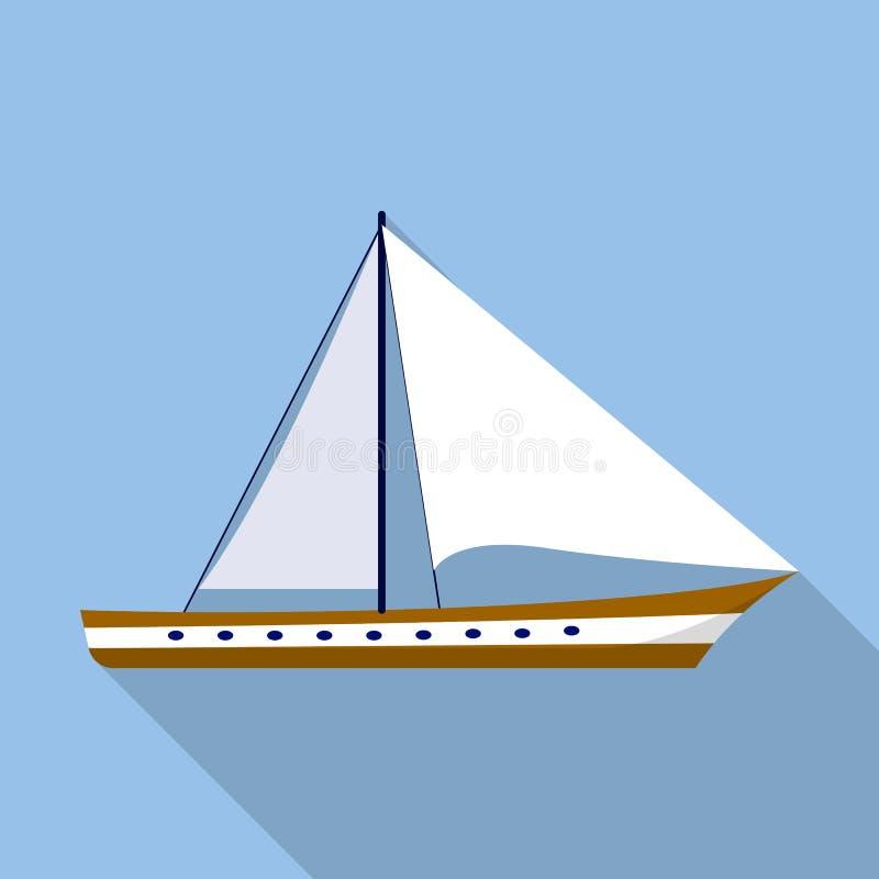Segla fartygsymbolen, lägenhetstil royaltyfri illustrationer