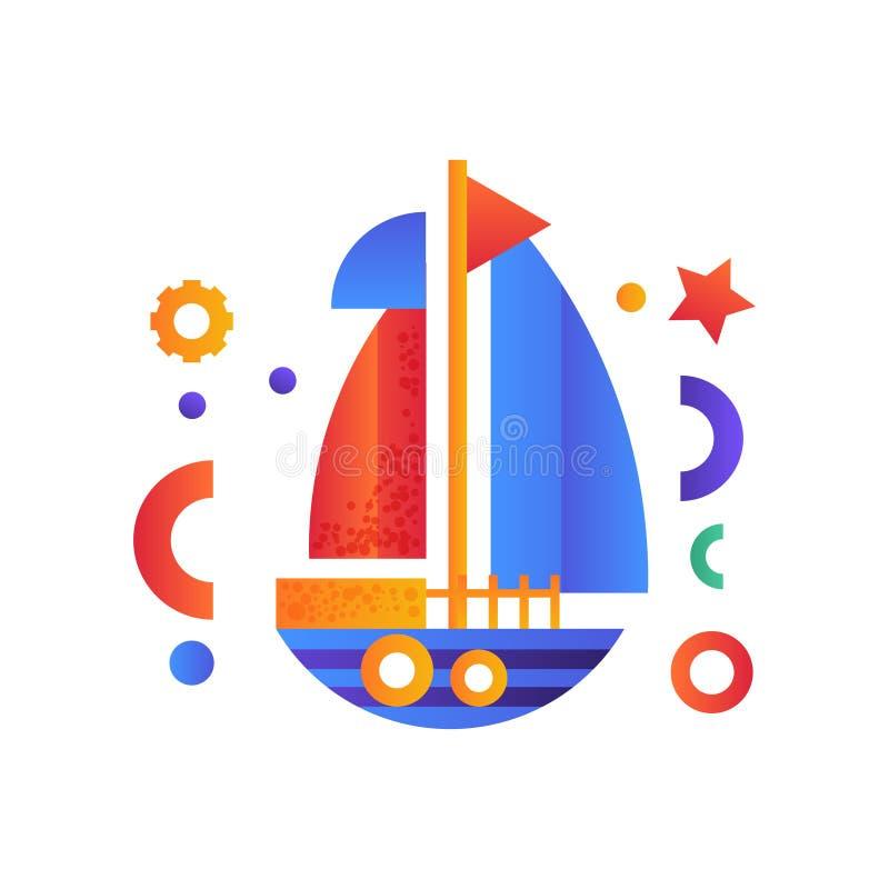 Segla havsloppet, retro illustration för vektor för leksakvattentransport på en vit bakgrund royaltyfri illustrationer