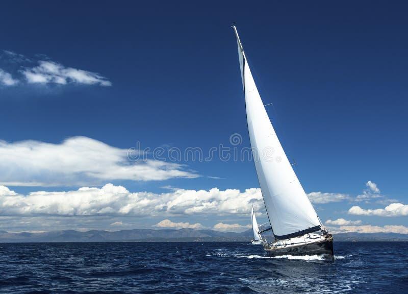 Segla i vinden till och med vågorna romantiker fotografering för bildbyråer