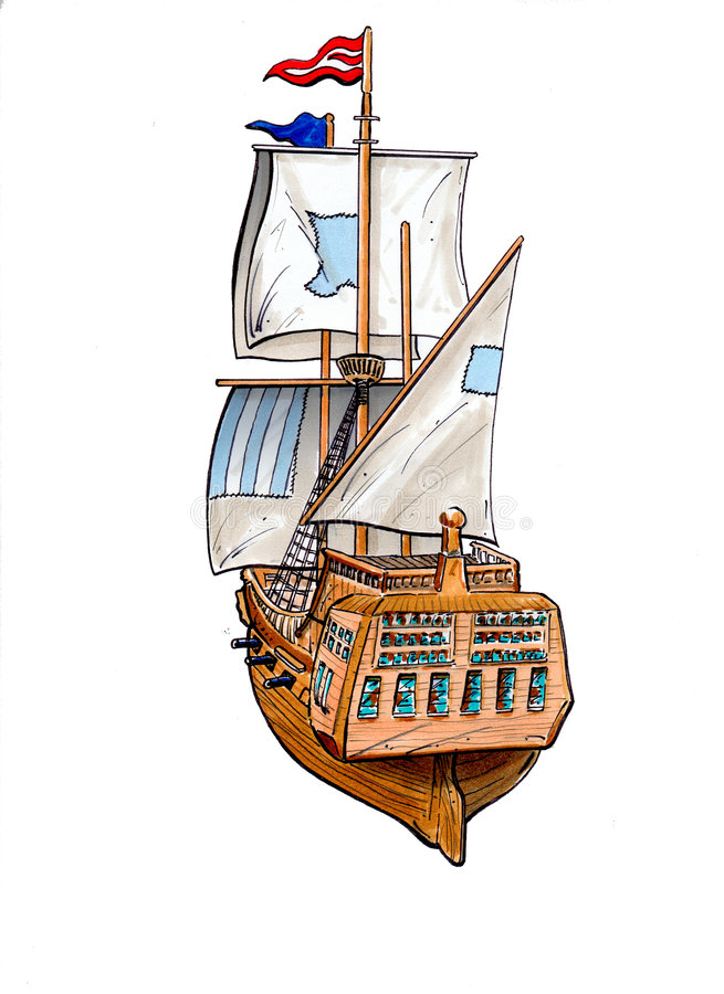 segla ship royaltyfri illustrationer