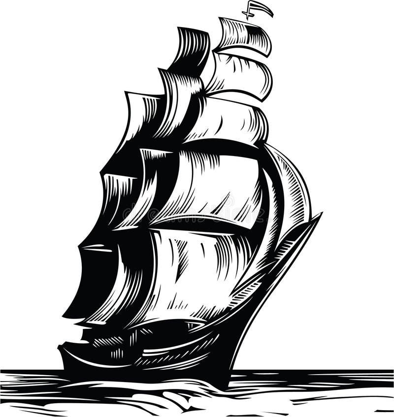 segla shipen royaltyfri illustrationer