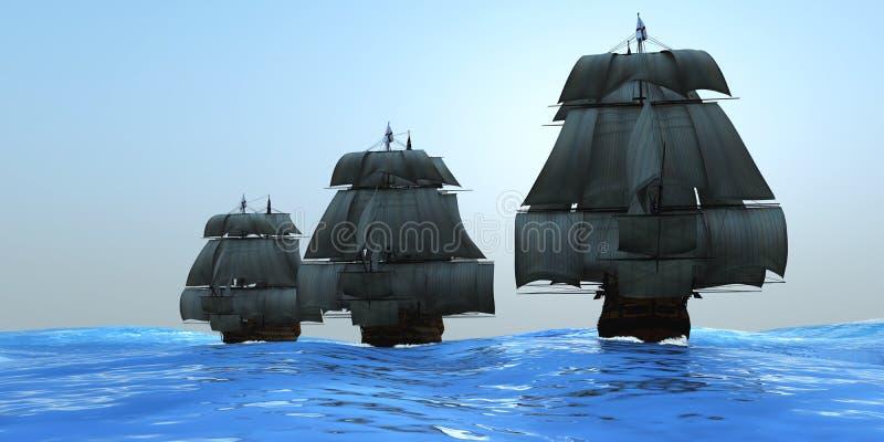 segla ships royaltyfri illustrationer