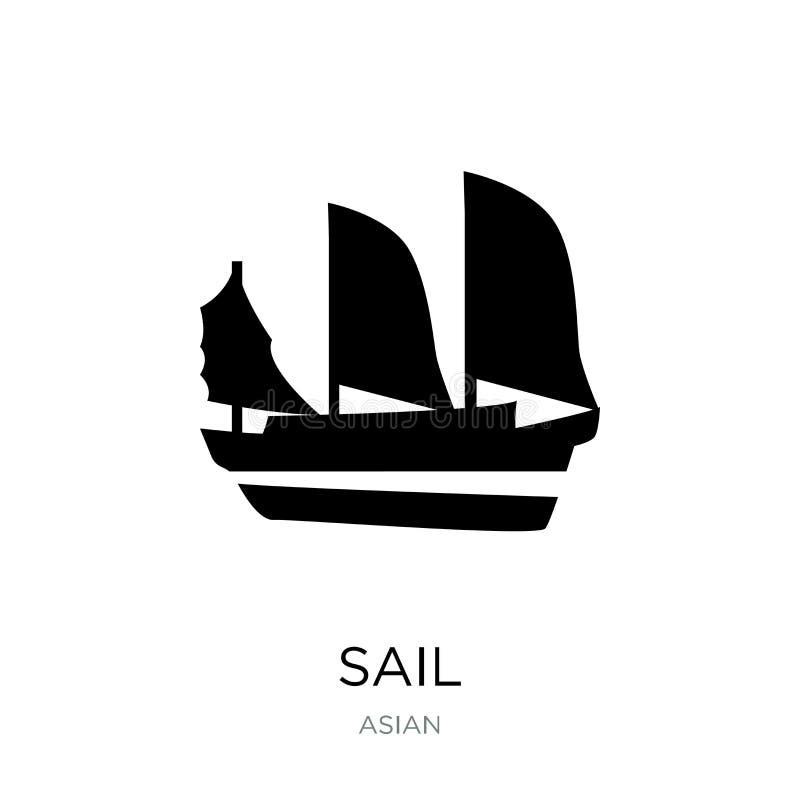 segla symbolen i moderiktig designstil segla symbolen som isoleras på vit bakgrund segla det enkla och moderna plana symbolet för vektor illustrationer