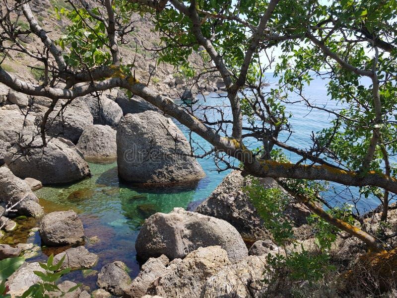 Segla utmed kusten av Crimea royaltyfri bild