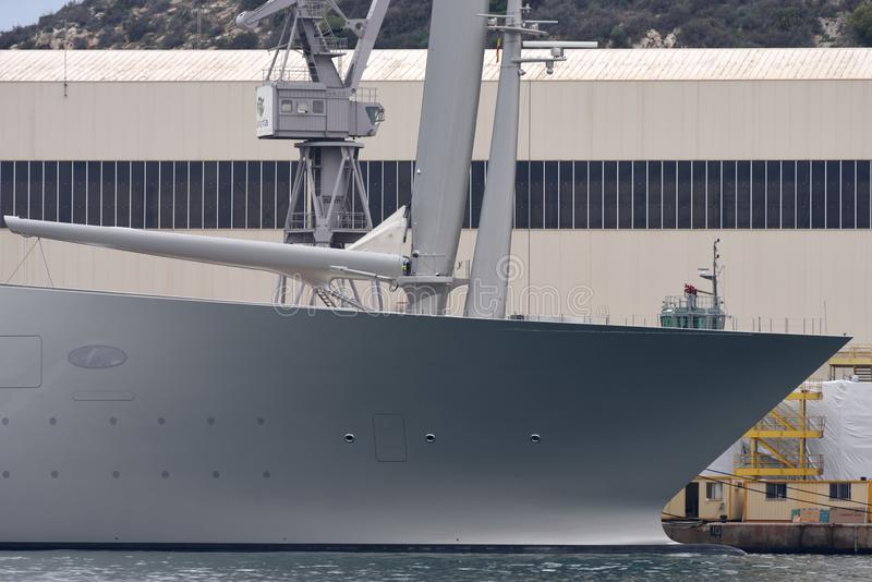 Segla yacht A i Cartagena arkivfoto