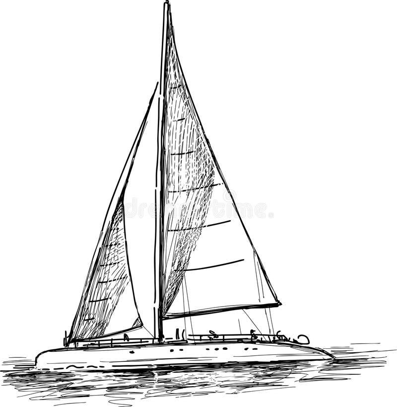 Segla yachten vektor illustrationer