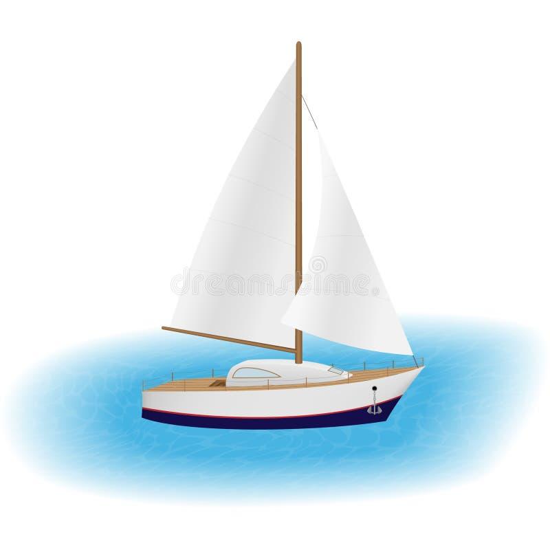 Segla yachten med vit seglar i ett hav Lyxigt nöjefartyg Segelbåtresande runt om världen med vind stock illustrationer