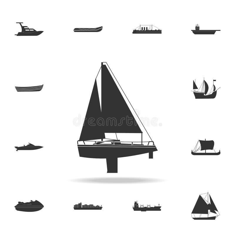 Segla yachtsymbolen Detaljerad uppsättning av vattentransportsymboler Högvärdig grafisk design En av samlingssymbolerna för websi vektor illustrationer
