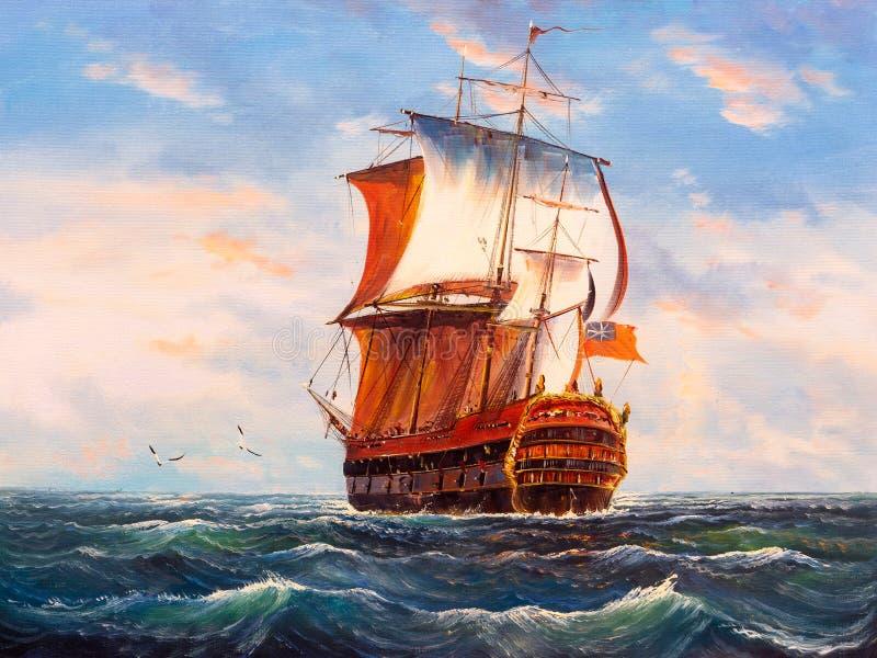 segling för fartygoljemålning vektor illustrationer