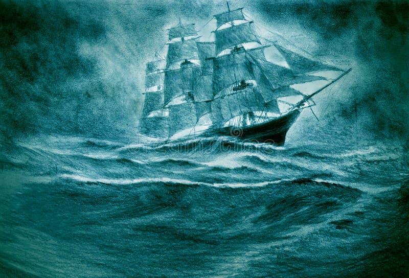 Seglingskepp i en storm royaltyfri illustrationer