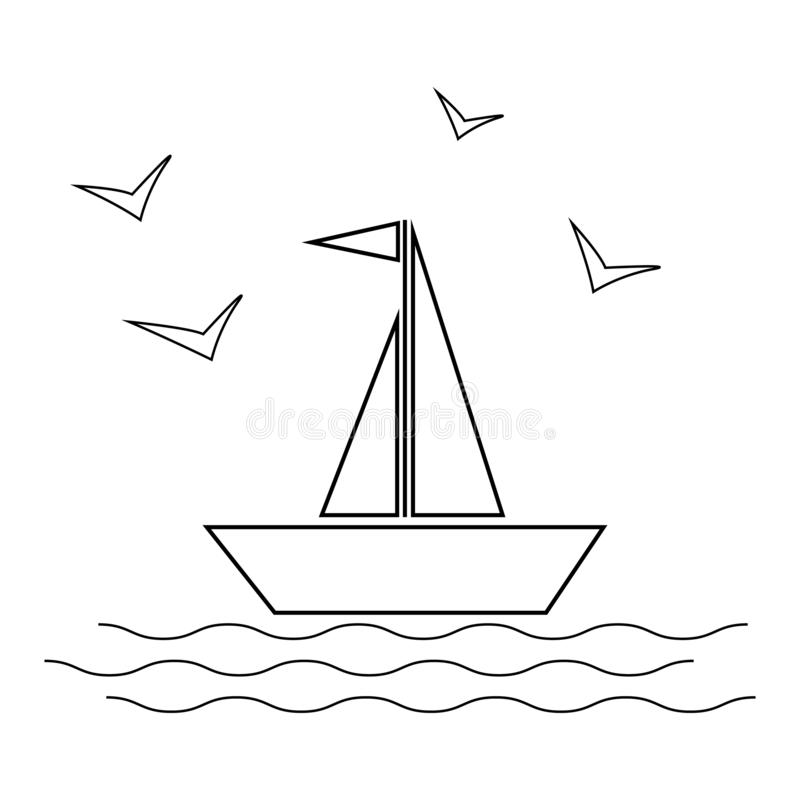 Seglingskepp med vågor och illustration för fiskmåssymbolsvektor på vit bakgrund linje stil vektor illustrationer