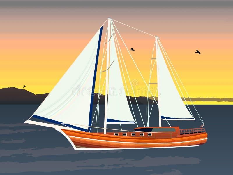 Seglingskepp som svävar på havet stock illustrationer